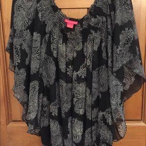 Sunny Leigh Black Butterfly Sleeve Top XL